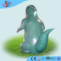Green Inflatable Outdoor Santa Claus / Inflatable Advertising Signs With Dinosaur