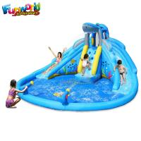 China 0.55mm Outdoor Playing Backyard Inflatable Water Park Inflatable Slip and Slide With Pool on sale