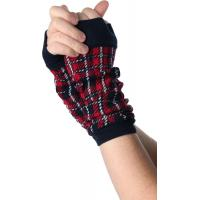 Quality Red / Green + Black Knitted Arm Warmer , Women's Free Fingerless Gloves Knitting Patterns For Arm Warmers for sale