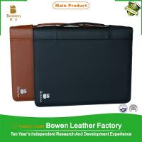 China A4 leather conference folder/expandable portfolio folders with zipper on sale