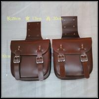 China Cafe Racer Saddle Bag Leather Brown Black Vintage Saddle Bag Motorcycle Tool Bag 29*13*30cm on sale