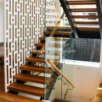 Quality Beautiful Modern Design Double Cantilevered Steel Wood Stringer Glass Staircase for sale