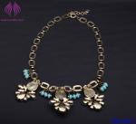 Fashion Ruby Gemstone Gold Geometric Chain Necklace