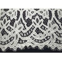 Quality White Striped Nylon Off Scalloped Both Edege Eyelash White Lace Trim Fabric For Wedding Gown for sale