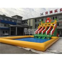 Custom Dinosaur Slide Inflatable Water Park With Pool For Summer