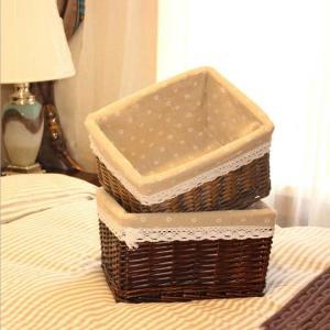 Gift crafts desktop square wicker box storage basket