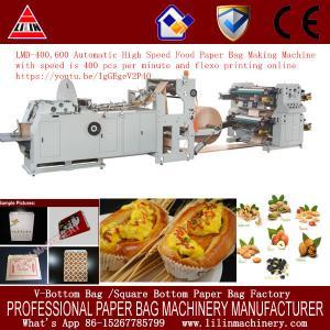 China Automatic Roll Feeding Sharp Bottom Paper Bag Machine with Plastic Window on sale