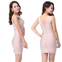 Quality 2014 sexy simple design modest apricot crisscross bust skintight bodycon dress for sale