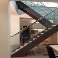 Quality Double Stringers U-shaped Modern Wood Staircase Design for Villa for sale