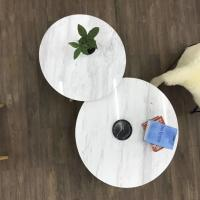 China Living Room Round Dining Tabletops Marble Stone Countertops With Metal Base on sale