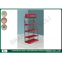 Quality Wire metal stands supermarket shelves for oil lubricant cans bottles four tiers metal displays for sale
