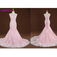 Quality Spaghetti Straps Colored Mermaid Wedding Dresses , Sweep Train Pink Colour Wedding Gown for sale