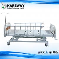 China Aluminum Side Rails Manual Hospital Bed 3 Cranks with Dining Table for Private Hospital wholesale