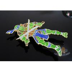 China Custom Logo Ninja Turtle Zinc Alloy Metal Lapel Pin Bages, Cut Out Stye Shiny for sale