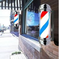 Quality Large Wide Round Barber Pole Sign Rotating Light Stripe Hair Cut Shave Sign for sale