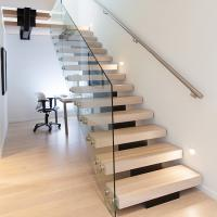 Quality Modern Style Indoor Single Stringer Straight Steel Solid Wood Staircase for sale