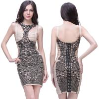 Quality Follow the fashion trend sexy ladies floral printed short bodycon bandage dress for sale