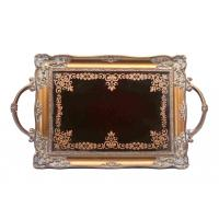 Handcrafted Small Mirrored Vanity Tray With Branch Handle Scrolling Designs