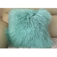 Mint Green Real Mongolian Fur Pillow 16 Inch Square With Zipper Closure