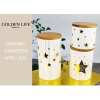 Quality Porcelain 3 Piece Ceramic Gift Set Bamboo Lid Three Sizes With Gold Stars Design for sale