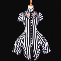 Quality Medieval Dress Wholesale XXS to XXXL Custom Made Black and White Stripe Ball Gown Medieval Victorian Dress for sale