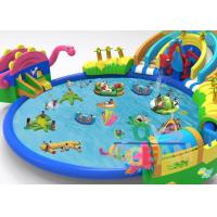 China Family Fun Inflatable Amusement Park With Dinosaur Double Lane Big Pool on sale