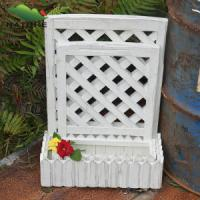 Quality Rectangle Wood Flower pot with White Color for sale