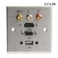 China Brushed Aluminum AV Wall Plate , Audio Video Wall Plates With Hdmi Easy Operate on sale