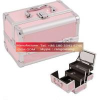 Quality Makeup Train Case Cosmetic Organizer Mirror 3 Trays PINK Aluminum Jewelry Box for sale