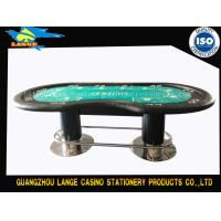 China Black Two Pedestal Green Texas Table Poker Table 96'' Tabletop Long Length wholesale