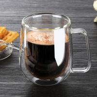China Borosilicate clear pyrex double wall glass coffee cup with handle on sale