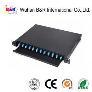 Quality FTTH Black 24 Port LC Fiber Patch Panel for sale