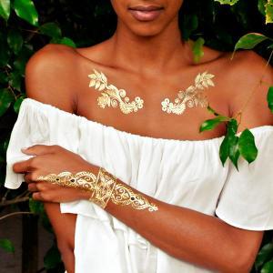 China henna tattoo sticker, metallic jewelry tattoo, sexy gold temporary tattoo on sale