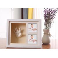 China Wooden 3D Hand And Foot Casting Kits Photo Frame White Baby Shower Gifts on sale