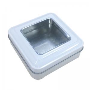 Quality 85X85X30mm Matt Varnish Mini Square Tin Box With Window for sale