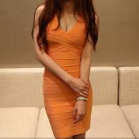 Quality 2014 sexy simple design modest orange v neck sleeveless evening bodycon dress for sale