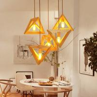 Quality Triangle rectangle wood Pendant Hanging Lights For Indoor Home Kitchen Dining room (WH-WP-14) for sale