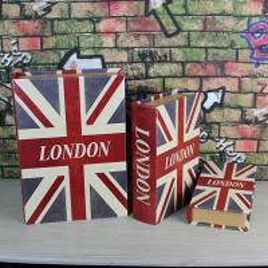 China UK flag Decorative Book Shape Storage Boxes Antique Book Storage Boxes Empty Glove Compartment Storage Box on sale