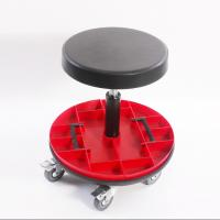 Quality Car Repairing Worker Ergonomic Work Chair PU Leather Seat With Round Tools Box for sale