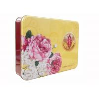 Quality Personalized Logo Mooncake Tin Box , Rectangular Metal Tins For Gift for sale