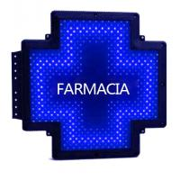 Quality Mono Color LED Pharmacy Cross Signs Advertising Sign White Text Blue Border for sale