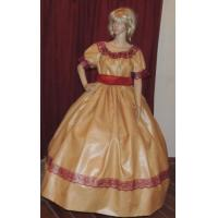 Quality Wholesale  CIVIL WAR VICTORIAN PIONEER WESTERN Yellow Gold Costume Dress Gown with Hat for sale