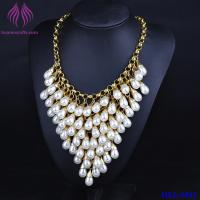 Quality Crystal Luxury Multi Layer String Collar white Pearl Chunky Choker Necklace for sale