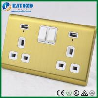 Quality 2 Gang British Standard USB Charging Power Socket with Golden Brushed Stainless Steel Wall Plate for sale