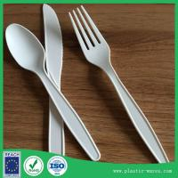 China white color corn starch biodegradable disposable dinner knife, spoon, fork on sale