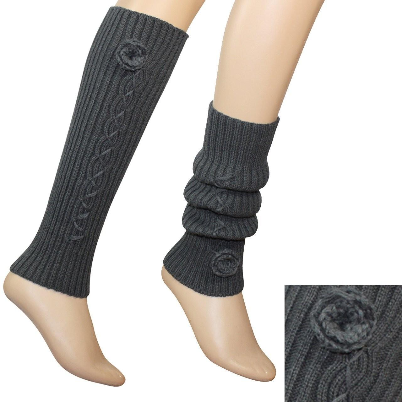 Quality 3.5 / 15.75 Inches White / Gray / Black Acrylic Knitted Leg Warmer Pattern For Women for sale