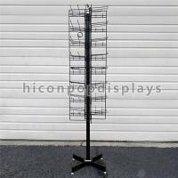 Quality 8 Tiered 96 Prongs 65 Long Rotating Display Rack Black Color With Hanging Hook for sale