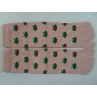 Quality Breathable, Comfy Cotton Pink / Yellow / Brown Split Toe Socks With Cute Frog Pattern for sale