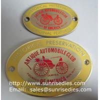 China Enamel Metal Sign Board with screw holes, OEM metal sign plate with colour filled on sale