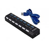 Quality Multi 7Ports Powered USB 3.0 Hub 5Gbps Overload Current Protection With On / Off Switch for sale
